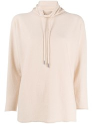 Lamberto Losani Drawstring Turtle Neck Sweater Neutrals