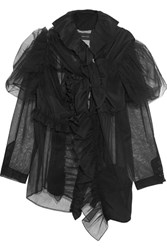 Simone Rocha Ruffled Tulle And Silk Crepe De Chine Scarf Black