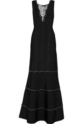 Herve Leger Lace Up Bandage Gown Black