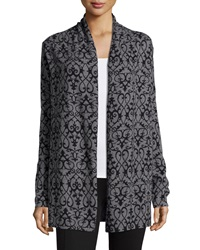 Neiman Marcus Cashmere Collection Open Front Scroll Print Cardigan Gray Black