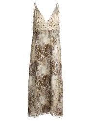 Christopher Kane Marble Print Embroidered Cady And Georgette Dress Grey Print