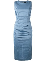 Eggs Ruched Fitted Dress Women Cotton Polyamide Spandex Elastane 44 Blue
