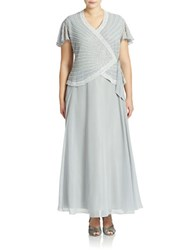 J Kara Plus Faux Wrap Gown Silver White