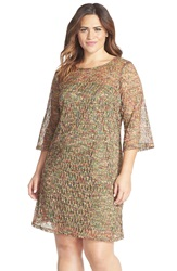 Gabby Skye Crochet Trapeze Dress Plus Size Olive Multi