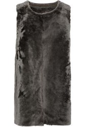 Karl Donoghue Reversible Paneled Shearling Gilet Dark Gray
