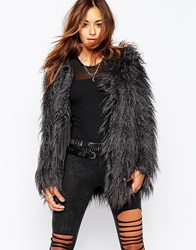 Noisy May Yogi Faux Fur Coat Grey