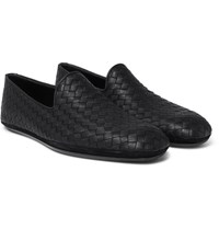 Bottega Veneta Intrecciato Leather Slippers Black