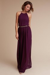 Anthropologie Alana Wedding Guest Dress Dark Purple