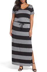Caslonr Plus Size Women's Caslon Knit Drawstring Waist Maxi Dress Black Heather Grey Stripe