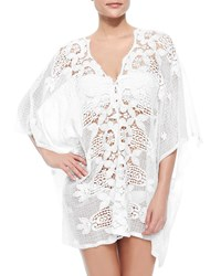 Miguelina Kara Netted Lace Caftan Coverup Pure White