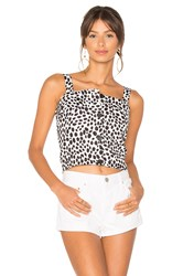 Minkpink Dalmatian Button Front Apron Top Black And White