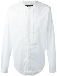 Christian Pellizzari Pleated Bib Shirt White
