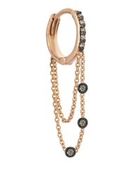 Kismet By Milka Colors 14K Rose Gold Triple Chain Hoop Earring With Champagne Diamonds Each