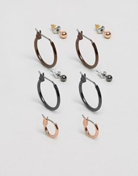 Asos Hoop And Stud Pack In Mixed Finish Multi