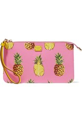 Dolce And Gabbana Printed Textured Leather Pouch Pink