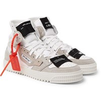 Off White 3.0 Court Suede Leather And Canvas High Top Sneakers White