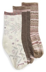 Smartwool 3 Pack Crew Socks Taupe