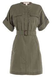 Burberry Brit Cotton Dress With Silk Green