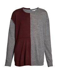 Stella Mccartney Bi Colour Long Sleeved Wool Blend Sweater Burgundy Multi