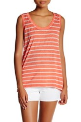 Marc New York Scoop Neck Stripe Tank Pink
