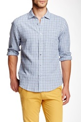 Toscano Checkered Plaid Shirt Blue