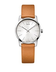 Calvin Klein Stainless Steel And Leather Watch Orange