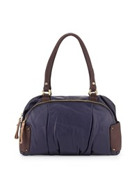 Tina Two Tone Leather Satchel Bag Eggplant Multi Oryany