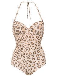 Amir Slama Animal Print Swimsuit Brown