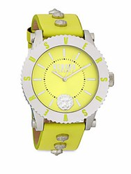 Versus By Versace Stainless Steel And Leather Strap Analog Watch Silver