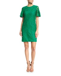 Ruffled Short Sleeve Lace Shift Dress Kelly Green