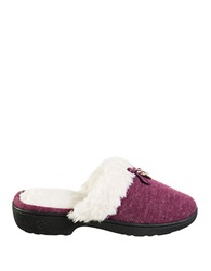 Isotoner Signature Holiday Brushed Knit Clog Slippers Henna