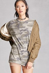 Forever 21 Camo Longline Sweater Olive