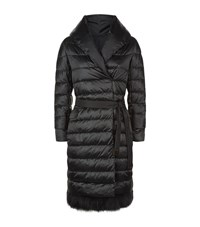 Max Mara Maxmara Noves Fur Trim Down Jacket Female Black