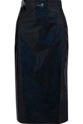 Ainea Woman Crinkled Faux Patent Leather Wrap Skirt Black