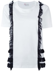 Red Valentino Frill Detail T Shirt White