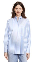 Ayr The Deep End Button Down Blue And White Stripe