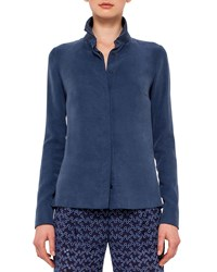 Akris Punto Long Sleeve Back Peplum Blouse Navy