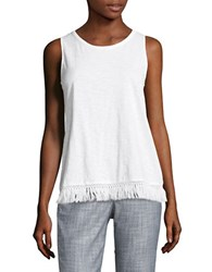 Lord And Taylor Fringe Trim Shell White