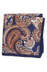Eton Men's Paisley Silk Pocket Square Navy
