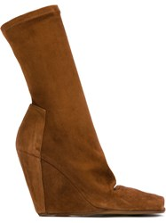 Rick Owens Open Toe Wedge Booties Brown