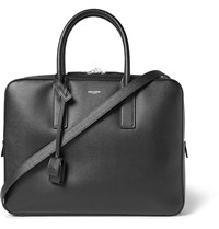 Saint Laurent Museum Pebble Grain Leather Briefcase Black