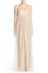 Donna Morgan 'Rose' Strapless Empire Gown Nude Silver