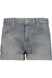 Current Elliott The Boyfriend Striped Denim Shorts Mid Denim