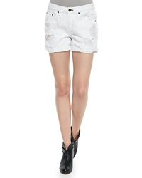 Rag And Bone Rag And Bone Jean The Boyfriend Distressed Rolled Cuffs Shorts Bright White Rebel