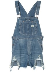R 13 R13 Distressed Overalls Blue