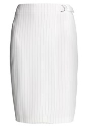 New Look Pinstripe Wrap Pencil Skirt White