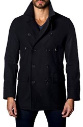 Jared Lang Men's Wool Blend Double Breasted Peacoat Navy Flat Wool
