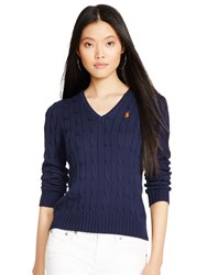 Polo Ralph Lauren Kimberly V Neck Cable Knit Jumper Hunter Navy