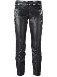 Dsquared2 Studded Leather Trousers Black