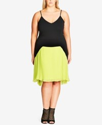 City Chic Plus Size Pleated Colorblocked Fit And Flare Dress Citron